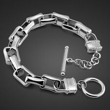 New Arrivals Genuine Solid Sterling Silver Thick Chain Lock Men's Bracelet 8""