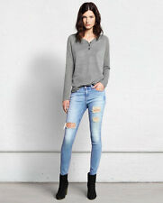 Rag and Bone Distressed Skinny Denim in Convoy. Faded blue wash. s 26