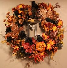 Autumn Fall Wreath Halloween Witch Wreath Fall Door Wall Decoration SALE
