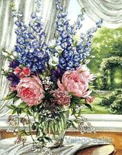 Dimensions Gold Counted Cross Stitch kit ~ PEONIES & DELPHINIUMS Sale #35257