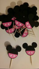 25 DISNEY MICKEY MOUSE BABY PINK CUPCAKE TOPPERS