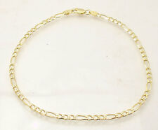 "10"" Italian Solid Royal Figaro Ankle Bracelet Anklet 14K Yellow Gold Clad Silver"