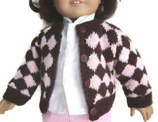 Argyle Style Brown Pink Cardigan Sweater for American Girl Doll Clothes