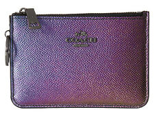 NWT Coach 64945 Hologram Crossgrain Leather Mini Skinny ID Wallet