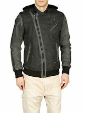 DIESEL LEJRUBIN CHARCOAL GREY LEATHER SLEEVE JACKET SIZE L 100% AUTHENTIC