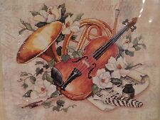 SUNSET MUSICAL INTERLUDE NO Count Cross Stitch Kit Violin French Horn Flower New