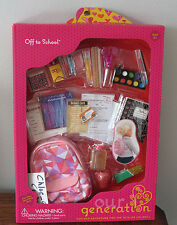 "American Our Generation OFF TO SCHOOL Backpack Snack Food Set 18"" Girl Doll NEW"