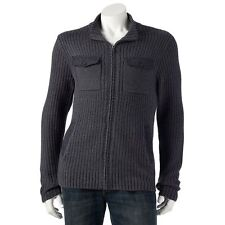 New Mens Marc Anthony Full Zip Cardigan Sweater Size XL Slate Heather MSRP $100