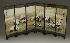 GOOD CHINESE LACQUER HANDWORK PAINTING PANDA SCREEN SCROLL NR