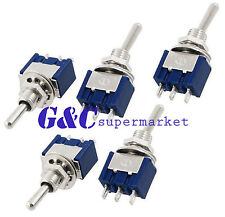 5PCS Mini 3 PIN BLUE Toggle Switch SPDT On-Off-On 6A 125VAC