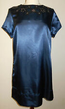 womens size 14 knee length blue satin look short sleeved embellished party dress