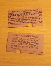 2 Severn Valley Railway Day Rover 3rd Class Tickets May 2016 Engine House