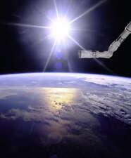ROBOT ARM OVER EARTH WITH SUNBURST 8x10 PHOTO NASA