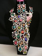 women silver metal long peacock statement necklace + earring set big rhinestones