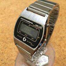 RARE Vintage Commodore Men LCD Alarm Chrono Watch Hours~Original Band~Run~Repair