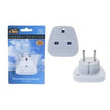WHITE ADAPTER UK TO EU EURO EUROPE EUROPEAN TRAVEL ADAPTOR PLUG 2 PIN LOG TRAVE
