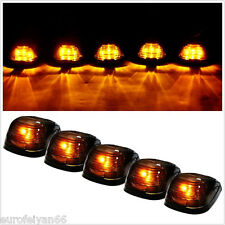 5 Pcs Amber 5-LED Smoke Lens Cover Car Top Cab Roof Running Light Exterior Lamps