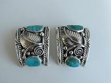 Native American Watch Bands big Navajo sterling turquoise leaf J arrow D as is