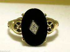 C1090- Elegant Genuine 9ct Solid Gold Natural ONYX & DIAMOND Vintage insp Ring