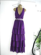 16 PURPLE TIERED CHIFFON MAXI DRESS BACKLESS EMBELLISHED 20S 30S WEDDING VINTAGE