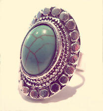 Bohemian Turquoise Stone Navajo Geometric Ring-Vintage Silver Jewellery- Jewelry
