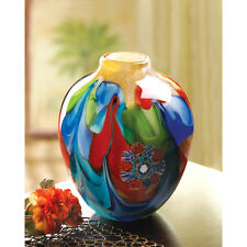 FLORAL FANTASIA ART GLASS VASE DECOR NEW~12982