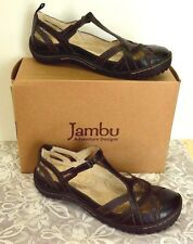 Jambu Charley Leather Strappy Mary Jane Sandals 9/40 Black Comfy Cute Party Fun