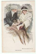 "Harrison Fisher Signed Postcard Glamorous Lady ""The Proposal"" R&N 186"