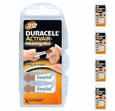30 X Duracell Activair Size 312 Hearing Aid Batteries 0% Mercury Free Pack 6 X 5
