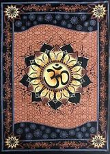 """Om Lotus Brown Tapestry 58 x 82"""" Wiccan Pagan Altar Supply WTOML"""