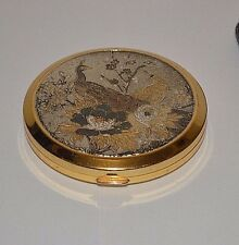 Vintage compact mirror makeup case peacocks flowers sifter soft cloth pouch
