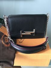 nwt tod's double t & chain crossbody shoulder bag  black $1765
