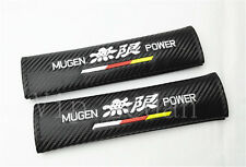 2Pcs Mugen Power Carbon Fiber Embroidery Car Seat Belt Shoulder Pads Cushions