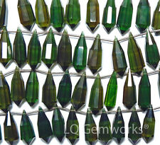 "7.5"" OLIVE GREEN QUARTZ 23-25mm Faceted Teardrop Beads /Q1"