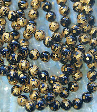"""CARVED 10 KT. GOLD PLATED BLACK ONYX DRAGON BEADS - ONE (1) 15.5"""" STRAND - 8MM"""