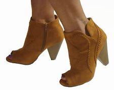 Black Brown PeepToe Ankle Boots Booties