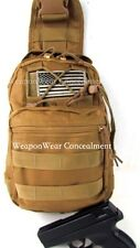 HEAVY DUTY TAN Tactical SLING Go Bag Gun Concealment Bug Out Gear Bag Holster
