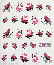 Nail Art Water Decals Pink Black Butterfly Oriental Japanese Flowers Gel Polish