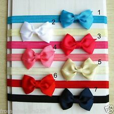 Lot of 10 Baby Toddler Girls Infant Boutique Satin Ribbon Bow Headbands Hairband
