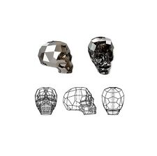 Swarovski Crystal Beads Faceted Skull 5750 Silver Night 19x18x14mm