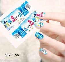 Full Wrap Water Transfers Nail Art Stickers Decals Christmas Snow Snowman (158)