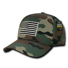 Forest Camo USA US American Flag Patch Military Combat Tactical Operator Cap Hat