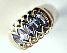 Authentic Vintage LeVian 18K Solid White Gold and Tanzanite Ring Size 7 1/4