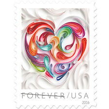 USPS New Quilled Paper Heart PSA Pane of 20
