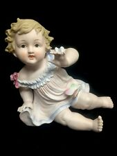 Antique German, Large Bisque Porcelain Piano Baby Girl & Butterfly