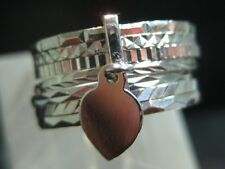 Silver 7 day band ring with a flat dangle heart from Portugal SIZE 5 to 10.0
