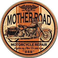 Vintage Replica Tin Metal Sign mother road rt 66 motorcycle harley davidson 1697
