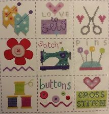 Coser Sampler Cross Stitch Kit-Retro Tijeras Pins Botones Motivo-Craft Regalo