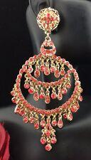 Large Circle Teardrop Pierced Dangle Chandelier Pink Crystal Earrings Gold Tone