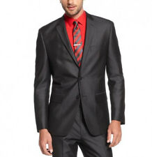 Alfani Red Men's Slim Fit 42/Long Shiny Charcoal Herringbone Sportcoat Blazer